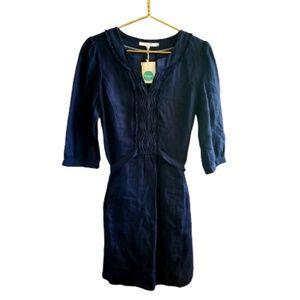    BODEN    10 Regular Linen Navy Blue Dress NWT